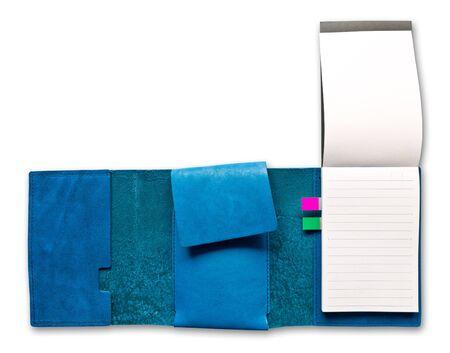 Blue leather case notebook isolated on white background Stock Photo - 9055596