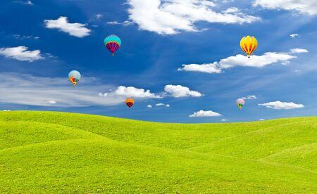 colorful hot air balloon against blue sky photo