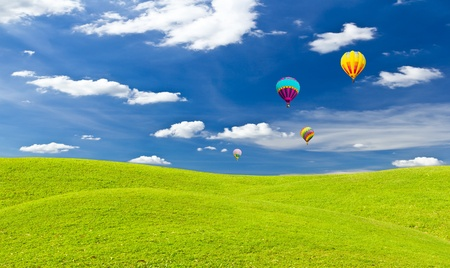 colorful hot air balloon against blue sky Stock Photo - 9055671