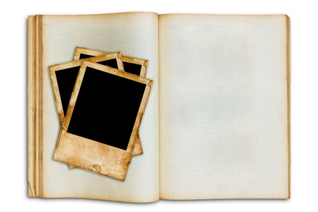 old vintage picture on old blank open book photo