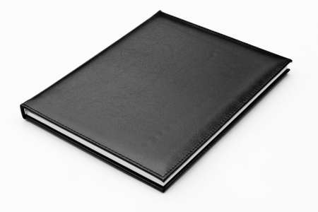 black leather case notebook isolated on white background Stock Photo - 9055608