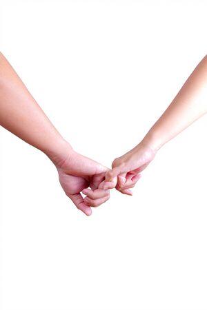 man en womam hand in hand geïsoleerd op witte achtergrond Stockfoto
