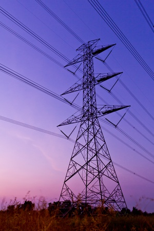 electric utility: electric high voltage power post Stock Photo