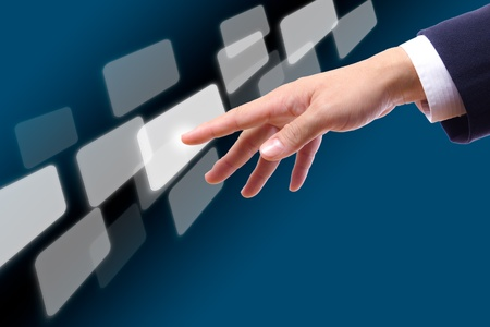 hand touching button photo