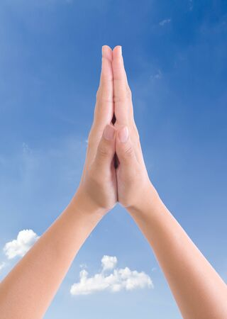 put hands together in salute Stock Photo - 9218016