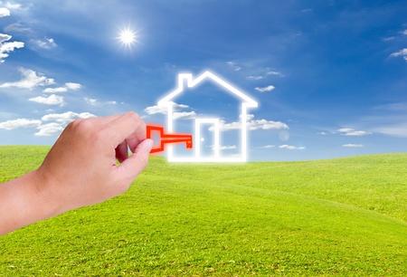 hand ingedrukt voor huis pictogram