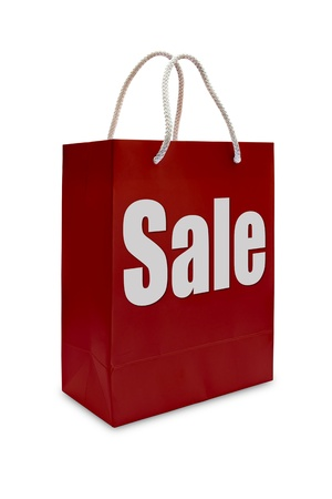 sale label on red shopping  paper bag photo
