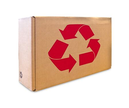 recycle sign on cardboard box isolated photo