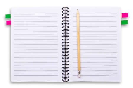 white notebook and pencils isolated photo