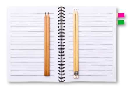 white notebook and pencils isolated Stock Photo - 9456599