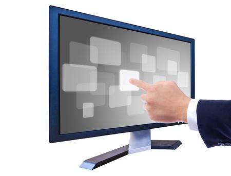 pushing the button: mano presionar bot�n en monitor LCD