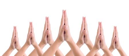handen samengesteld in salute Stockfoto