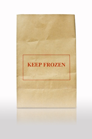 brown paper bag with keep frozen sign photo