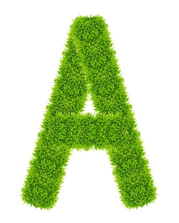 green grass letter A isolated Stock Photo