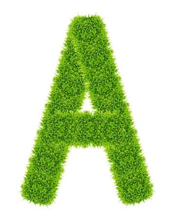 lettera di erba verde a isolato Archivio Fotografico