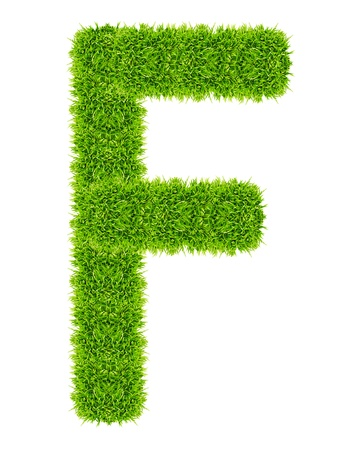 green grass letter F Isolated Stock Photo - 9715222