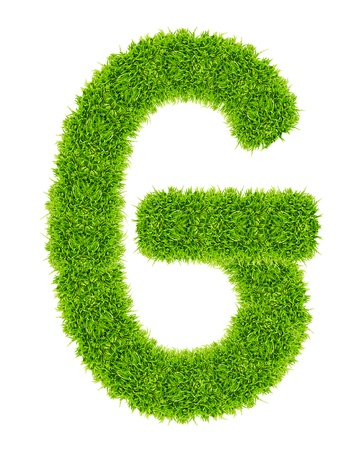 green grass letter G Isolated Stock Photo - 9715247