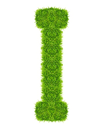 green grass letter I Isolated photo
