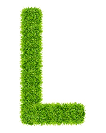 green grass letter L Isolated Stock Photo - 9715199