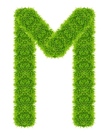 green grass letter M Isolated Stock Photo - 9715255