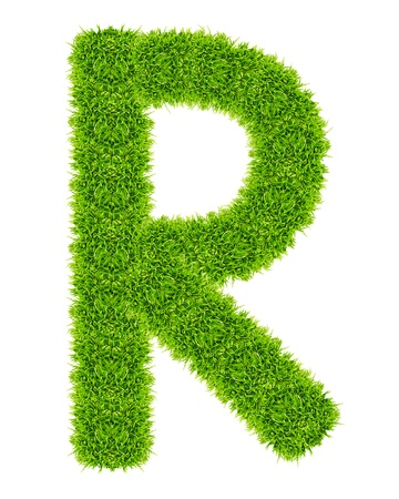 green grass letter R Isolated Stock Photo