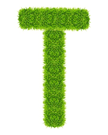 green grass letter T Isolated photo