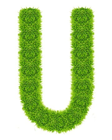 green grass letter U Isolated Stock Photo - 9715237
