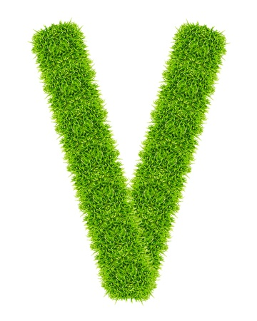 green grass letter V Isolated Stock Photo - 9715226