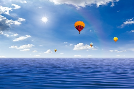 colorful hot air balloon on the sea Stock Photo - 9715187
