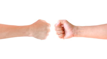 clenched: fist hand isolated Stock Photo