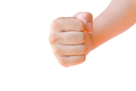 fist clenched: fist hand isolated Stock Photo