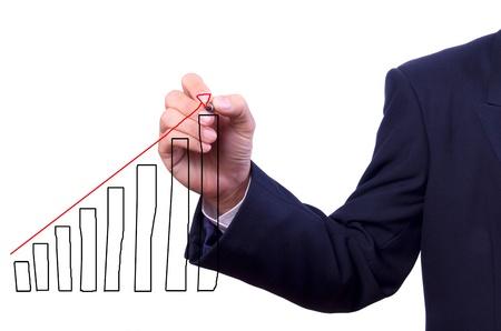 Business man hand tekenen grafiek geïsoleerd Stockfoto