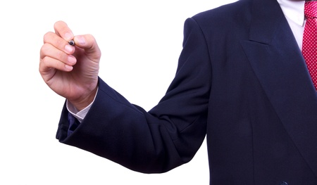 hand holding pen: business man hand holding pen isolated Stock Photo