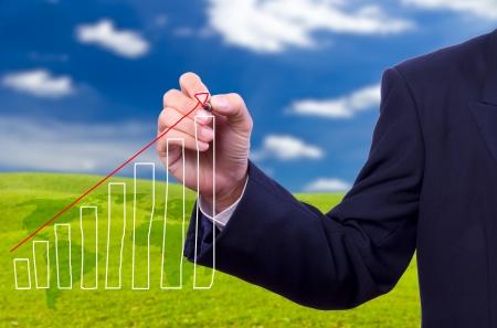 zakenman hand tekening grafiek