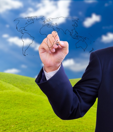 Business man wereldkaart tekening