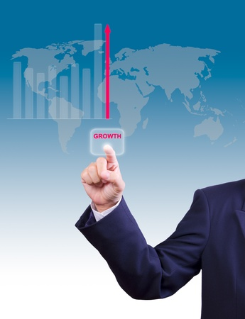 business man hand pushing growth button for business growth graph photo