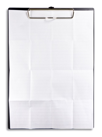 white crumpled paper with clipboard isolated photo