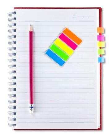 deberes: cuaderno rojo, l�piz y conjunto de indexaci�n aislado