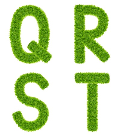 green grass letter qrst isolated Stock Photo - 9943560