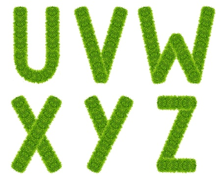 green grass letter uvwxyz isolated photo