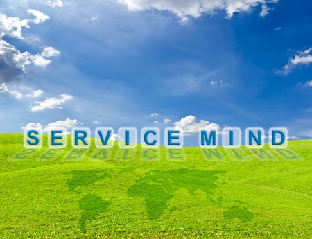 service mind word on green grass meadow photo
