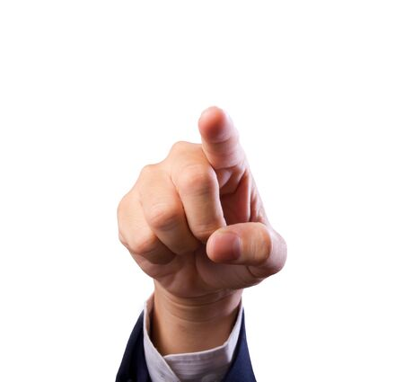 business man hand pointing finger isolated photo