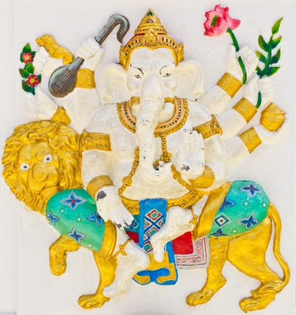 Indian or Hindu God Named Singha Ganapati at temple in thailand photo