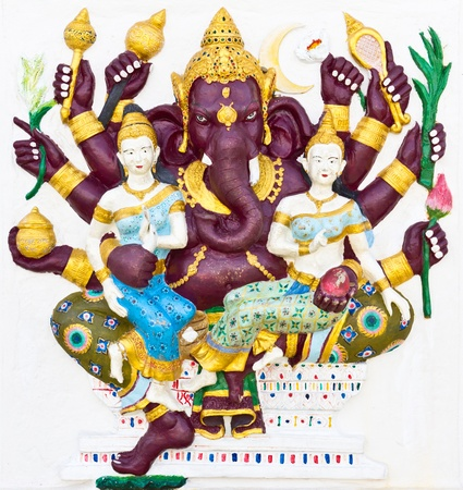 indian animal: Indian or Hindu ganesha God Named Maha Ganapati at temple in thailand Stock Photo