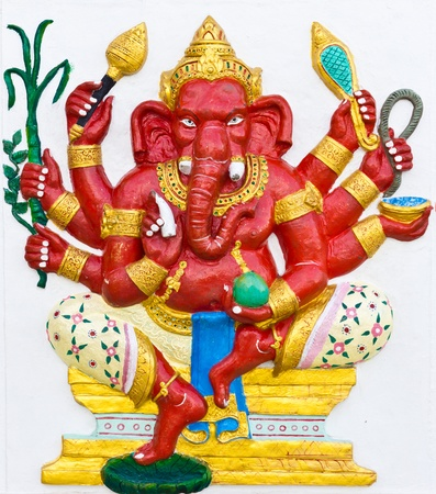 embark: Indian or Hindu ganesha God Named Taruna Ganapati at temple in thailand