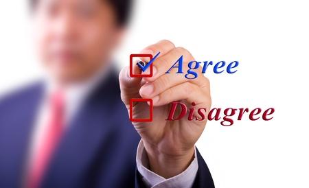 agree: business man choose agree word