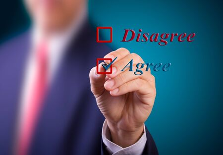 business man choose agree word Stock Photo - 10454655