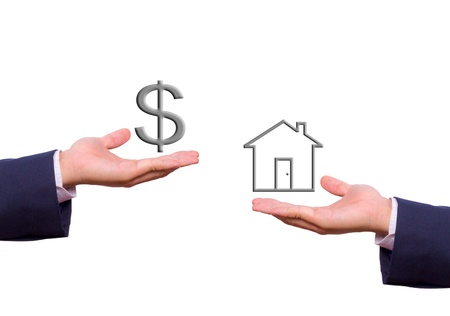business man hand exchange dollar sign and house icon photo