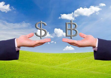 prosper: business man hand exchange dollar and baht sign