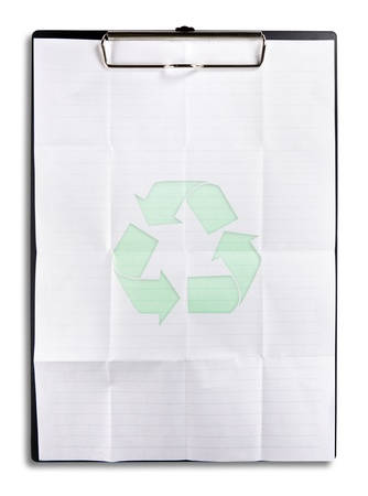 recycle paper on clipboard isolated on white photo
